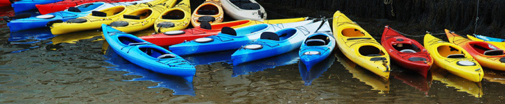 Many colorful kayaks tied up at shore